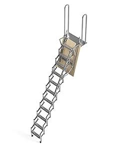 Mister Step UP Escalera escamoteable tipo tijera para altillos y loft: puerta de madera multicapa 70x100 cm. (H 250 cm.)