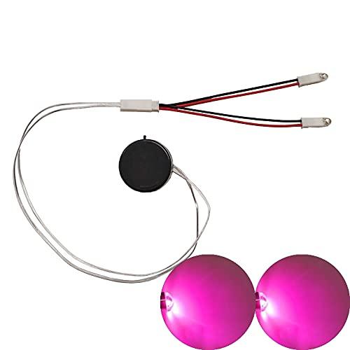 malyituk Botón redondo siempre brillante luz LED hecha a mano DIY luz LED casera, interruptor F5 LED con caja de batería 5V voltaje, para casco Cosplay DIY tiras de luz superhéroe (morado)