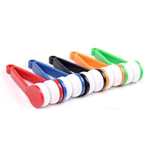 5 piezas mini herramienta limpiador de gafas, cepillo suave herramienta de limpieza mini gafas de microfibra limpiador clip de limpieza (color al azar)