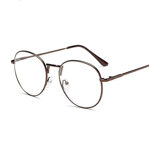 NJJX Montura De Gafas De Moda Vintage Redondas Para Mujer, Anteojos Ópticos De Metal, Lentes Transparentes Transparentes, Gafas Nerd Geek, Círculo, Espectáculo, Café