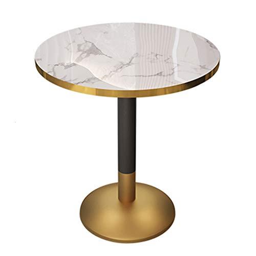 YLMF Iron Art Verhandlungstisch, Marmor Konferenztisch, runde Marmortischplatte, Glatte Kanten, stabile Basis, einfach zu montieren, Höhe 75 cm (29,5...