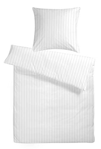 """Damast Hotel-Bettwäsche Set """"Balzana"""" 135 x 200 cm weiß streifen - Bettdecke und Kopfkissen-Bezug aus Satin-Baumwolle mit Reißverschluss - Der elegante Bett-Bezug mit leichtem Glanz für das ganze Jahr"""
