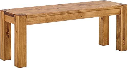 Brasilmöbel Sitzbank 130 cm Rio Kanto Brasil Pinie Massivholz Esszimmerbank Küchenbank Holzbank - Größe und Farbe wählbar