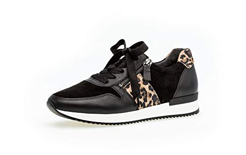Gabor Damen Sneaker, Frauen Low-Top Sneaker,Best Fitting,Reißverschluss,Optifit- Wechselfußbett, Halbschuh schnürer,schwarz/Natur,37 EU / 4 UK