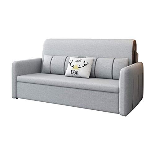 Inicio Equipamiento Sofá futón extraíble Sofá cama plegable Muebles de sala de estar nórdicos Sofá de dos plazas de tela Sofá cama convertible con almohada y cómodo cojín Relleno de látex Lavable n