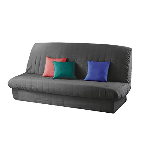 douceur d'intérieur Essentiel Housse de Clic Clac Mat. 120 à 140 cm - 185 à 200 cm Polye. Uni Essentiel Polyester, Beton, 120x185 cm