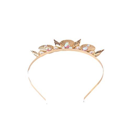 Minkissy Muschel-Haarreifen, Krone, Muschelkopf, Diadem für Damen, Party, Mädchen