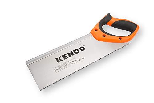 KENDO Zapfensäge 300 mm – 12 Zähne / Zoll – Feinsäge – FastCut – Mit ergonomischem Bi-Materialgriff – Gehärtete, dreifach geschliffene Verzahnung – Zum Sägen von Holz und Laminat