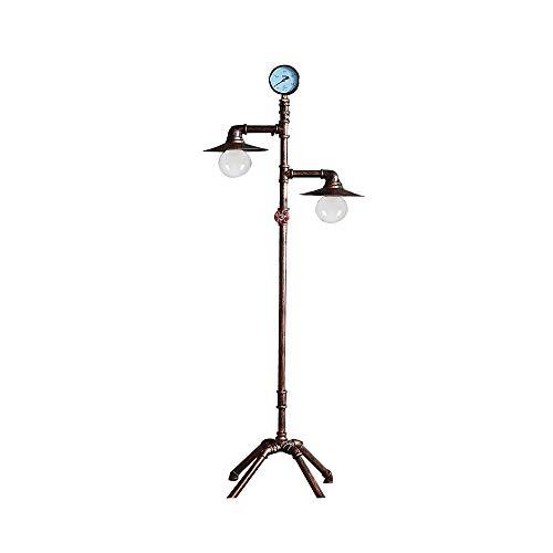 Lámpara de pie retro industrial antigua bronce conducción de agua luz de pie, 2 × E27 para salón lámpara de lectura, lámpara de pie con interruptor de pie, para dormitorio casa de campo, comedor