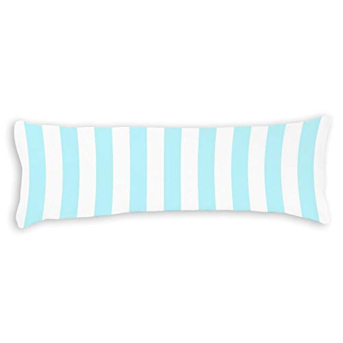 Pastel Aqua Nursery Stripes Ultra Soft Microfiber Long Body Pillow Cover Pillowcases with Hidden Zipper Closure for Kids Adults Pregnant Women, 20' x 54'