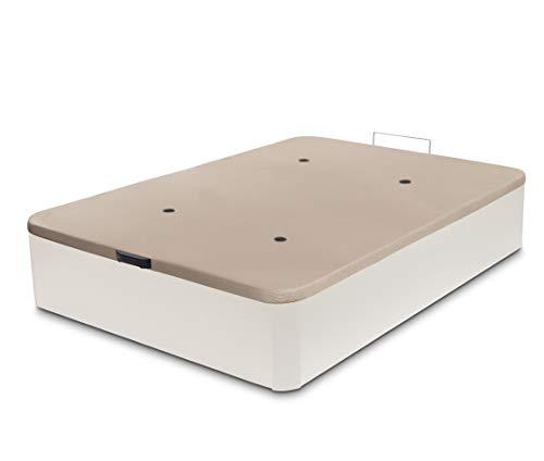 Dormidán - Canapé abatible de Gran Capacidad con Esquinas Redondeadas en Madera, Base tapizada 3D Transpirable + 4 válvulas aireación 135x190cm Color Blanco