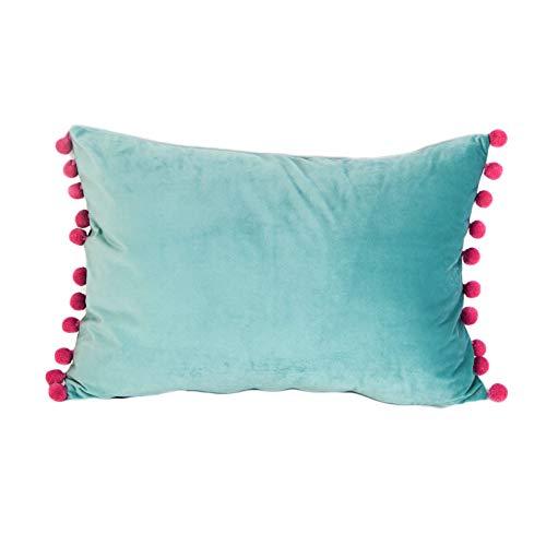 DOKOT Terciopelo Fundas de Almohada Soft Decorativa Fundas de Cojín Caso con Pompón para Sofá Dormitorio Auto 30 x 50 cm Turquesa Claro