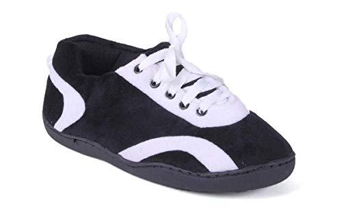 5017-2 Black and White - Medium - Happy Feet All Around Slippers
