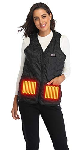 GULE GULE Heated Vest Adjustable Size with Zipper Suitable for Plus Size Men Women Outdoor Traveling, Walking, Hiking, Biking, Motorcycle (One Size (M-4XL), Black