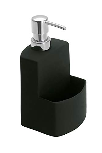 WENKO Spülmittelspender Festival Schwarz - nachfüllbarer Seifenspender, mit griffiger Soft-Touch Oberfläche Fassungsvermögen: , Soft-Touch Keramik, 10 x 18 x 10 cm, Schwarz