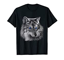 Painted Wolf Blue Eyes T-Shirt Wolves Tee Shirt Gifts