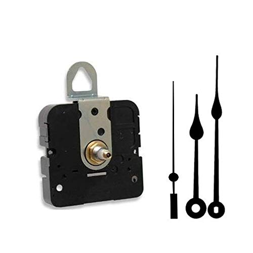 Takane Quartz Clock Movement Mechanism, Choose Your Hands and Size, USA Made (7/16' Threaded Shaft for dials up to 1/4' Thick, H Hands with Black Second Hand)