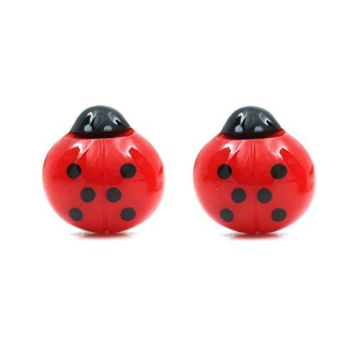 Idin Jewellery - Pendientes de clip con diseño de mariquita, color rojo