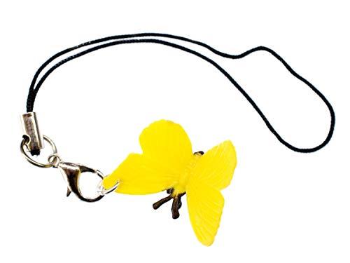 Miniblings Mariposa Reposamovil Mariposa Oruga de la Polilla Joyas de los ninos de Color Amarillo Colgante de joyería de Moda Hecha a Mano Que Llaveros
