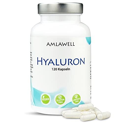 AMLAWELL Hyaluron Kapseln - 120 Kapseln hochdosierte Hyaluronsäure (500 mg Hyaluronsäure 600-800 kDa), vegan