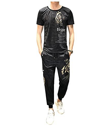 XIKONG Trajes Casuales para Hombre, Legends China Dragón de Oro Dragón de Manga Corta Trajes de Jogging Sweatsuit T-Shirt Pantalones Traje 3-M