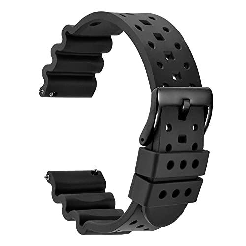 [WOCCI]フッ素ゴム時計ベルト20mm FMK高級腕時計シリコンバンド イージークリック付き ブラック/ブラックバックル