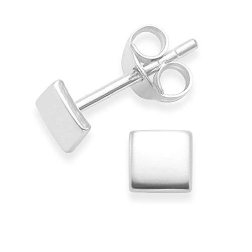 Ohrstecker Quadrat Sterling Silber in Geschenkbox - Größe: 4 mm x 1mm