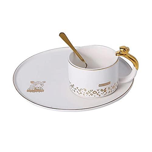 SXXYTCWL Taza de café Cerámica Pintado a mano Taza de cerámica de cerámica Oficina Taza de agua Taza de té Café instantáneo Copa de preparación Familia Tarde Tea Placa de Placa Taza y platillo Set (bl