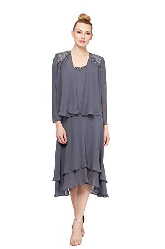 S.L. Fashions Women's Embellished Chiffon Tiered Jacket Dress, Steel, 14