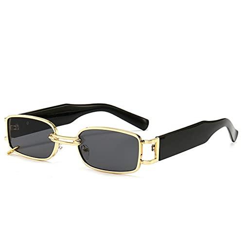 KUNIUO Gafas De Sol Retro Pequeñas Rectangulares para Mujer Gafas De Sol Punk para Hombres Gafas Europeas Y Americanas De Moda Uv400-Gold Black