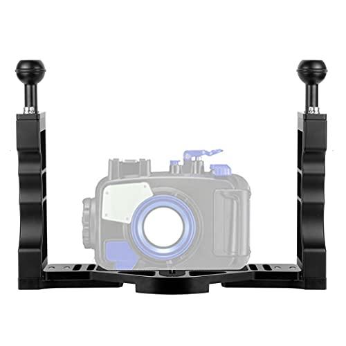 XT-XINTE Soporte de bandeja de buceo de aleación de aluminio con doble agarre de mano, compatible con GoPro, cámara de acción DJI accesorios de fotografía subacuática (buceo y snorkeling)