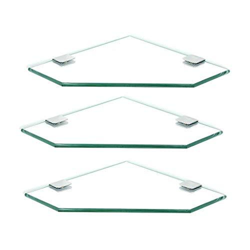 SLINGDA Glazen Hoekplank, met Aluminium Rail en Handdoek bar (Gehard Glas) Badkamer Plank Wandmontage, Zilver Zand Sprayed (Kleur : 3 Packs, Maat : 28cm)
