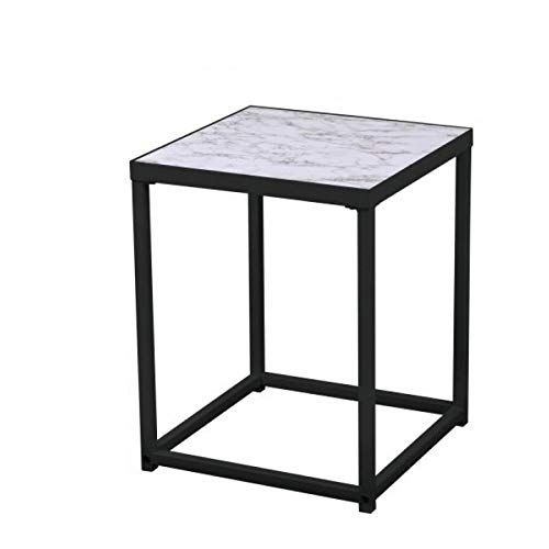 Urban Living Industriële Bijzettafel, Koffietafel, Side table, Vierkant, Industrieel design, Marmerlook blad, Metalen frame, 40 x 40 x 50 cm