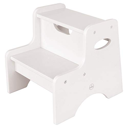 KidKraft Wooden Two Step Children's Stool with Handles- White