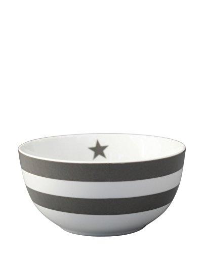 Krasilnikoff - Happy Bowl - Schale mit dunkelgrauen Streifen - Höhe 7,6 cm