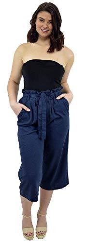 CityComfort Pantalones de Lino para el Verano, 3/4 de Longitud | Pantalón de Traje de Fiesta para Mujeres | Cintura Alta a la Moda con Lazo y Pliegues | Tamaños Variados (40, Azul Marino)