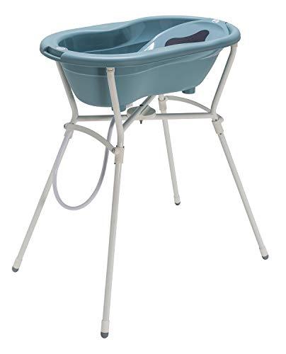 Rotho Babydesign Set de baño completo con bañera y Soporte plegable, A partir de 0 meses, Max 25kg, TOP, Lagoon (Azul), 21060 0292 01