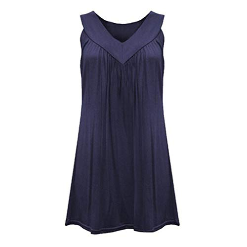 EUZeo Damen Top Ärmellose Sommer Blusentop Cotton V-Ausschnitt Tank Top Elegant Weste Einfarbig Casual Shirt Tops Bluse Oberteile Tunika Shirtkleider