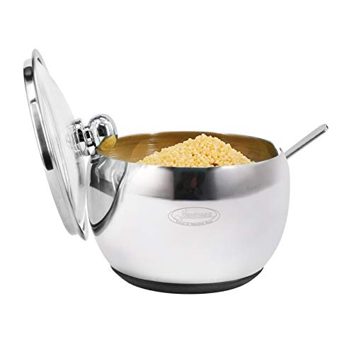Newness Sugar Bowl, Stainless Steel Sugar Bowl with Non-Slip Silicone Base,...