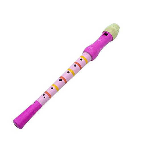 Flauta de Madera para Niños Instrumento Musical Educación Temprana Desarrollo de Grabadoras Pequeñas Flauta de Piccolo Colorida para Niños Principiantes(Rosado)