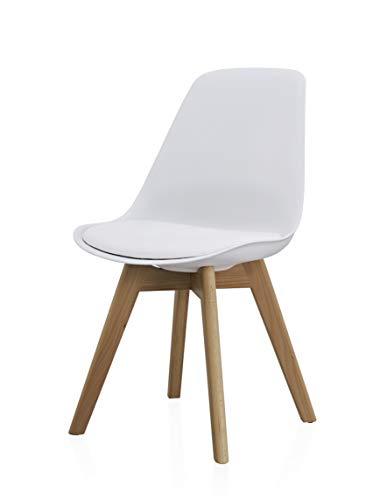 Orville Milou Designer Stuhl Weiß | robust & Leichter Aufbau | Ideal als Esszimmerstühle, Stühle Esszimmer, Esstisch Chair, Küchenstühle, Essstühle, Esszimmerstuhl, Schalenstuhl, Küchenstuhl