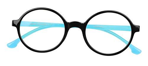 Kids Blue Light Glasses Circle Eyewear Anti UV Ray Mobile Thone Tablet Gaming Glasses for Toddler Age 2-6 (A2 Black -Blue, 44)