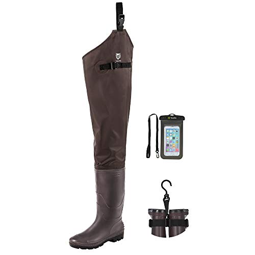 TIDEWE Hip Wader, Lightweight Hip Boot for Men and Women,2-Ply PVC/Nylon Fishing Hip Wader Brown Size 9