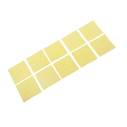 """10pcs 2,17""""x2,17""""x0,08"""" gelbe Schwamm-Renigungspolster für Spitzen der elektrischen Lötkolben, Bügeleisen, für Schweißen und Löten"""