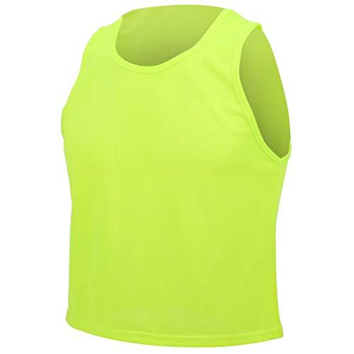 Kudoo Petos de Futbol para Niños y Jóvenes Petos Deportivos - Chalecos de Entrenamiento - Tamaño Libre (Verde Fluorescente) 12 Piezas