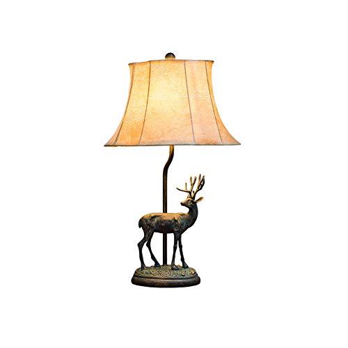 ACHNC Retro Elk Schreibtischlampen,Creative Resin Tier Dekoration Tischlampe Nachttischlampe PU Lampenschirm Landhaus Stil Wohnzimmer Schlafzimmer Tischleuchte E27