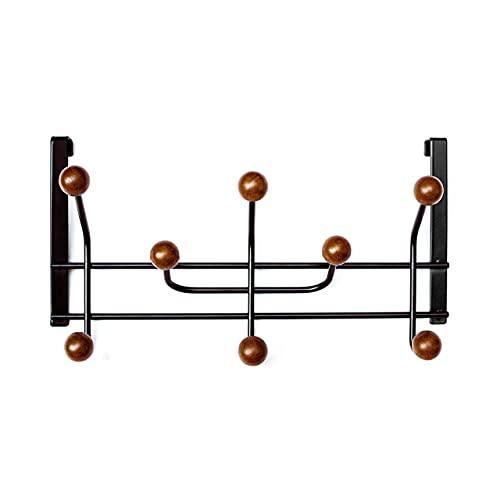 lovlov Armadio anta Woody Black - Gancio per porta con efficace protezione antigraffio - Appendiabiti per la porta 2cm - Gancio per porta in metallo nero e vero legno