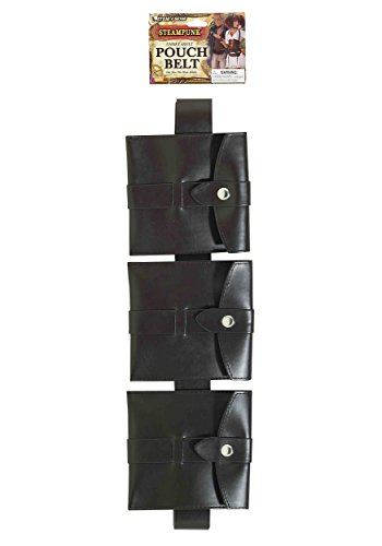 Steampunk Pouch Belt Black Costume Accessory, Brown, One Size
