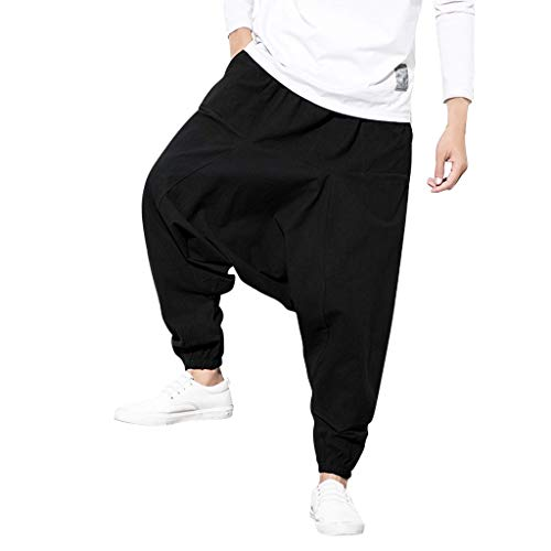 aihihe Men's Casual Baggy Pants Big and Tall Solid Joggers Comfy Casual Loose Yoga Genie Hippie Harem Pants Trousers Black