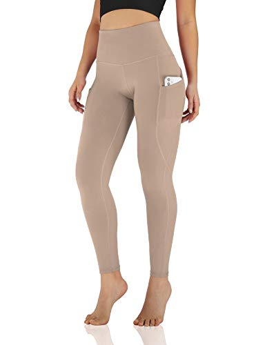 ODODOS Women's High Waisted Yoga Pants with Pocket, Workout Sports Running Athletic Pants with Pocket, Full-Length, Plus Size, Dark Beige,XXX-Large